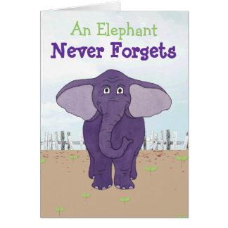 Funny Purple Elephant - Belated Birthday Card