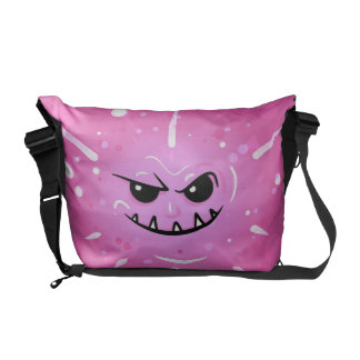 Funny Purple Face with Sneaky Smile Courier Bag
