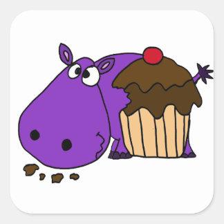 Funny Purple Hippo Eating Cupcake Square Sticker