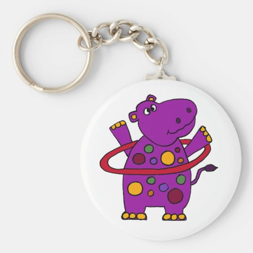 Funny Purple Hippo Playing Hula Hoop Key Chains