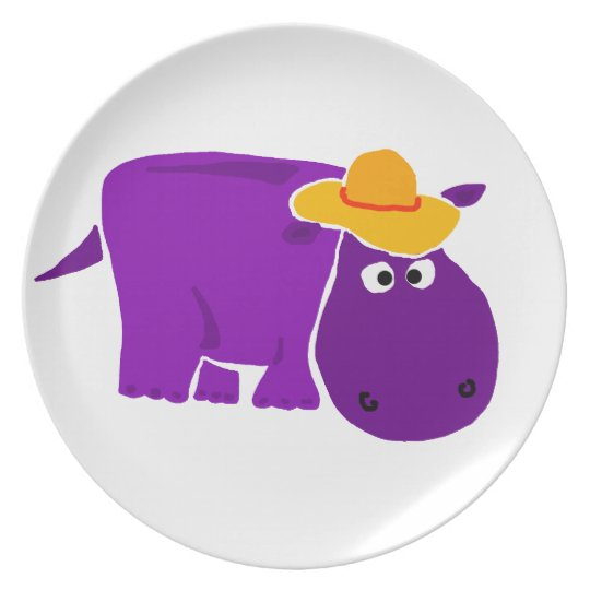 Funny Purple Hippo Wearing Yellow Hat Plate