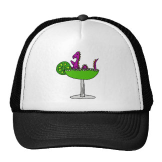 Funny Purple Loch Ness Monster in Margarita Trucker Hat
