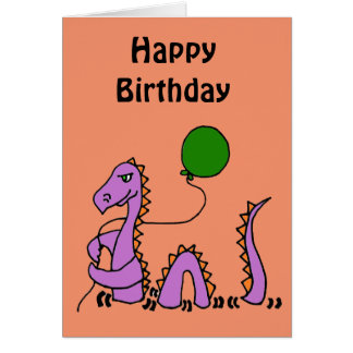 Funny Purple Loch Ness Monster with Green Balloon Card