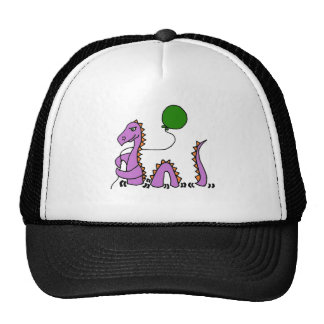Funny Purple Loch Ness Monster with Green Balloon Trucker Hat