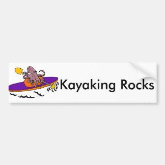 Funny Purple Octopus Kayaking Bumper Sticker