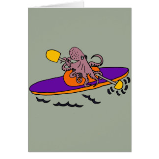 Funny Purple Octopus Kayaking Card