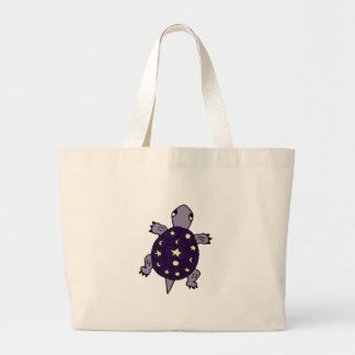 Funny Purple Turtle with Moon and Stars on Shell Large Tote Bag