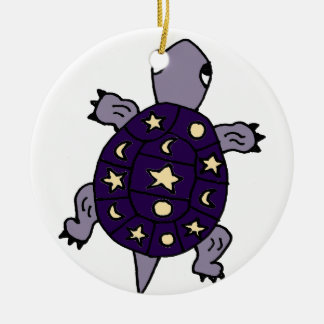 Funny Purple Turtle with Moon and Stars on Shell Round Ceramic Ornament