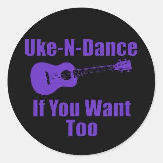 Funny Purple ukulele Classic Round Sticker
