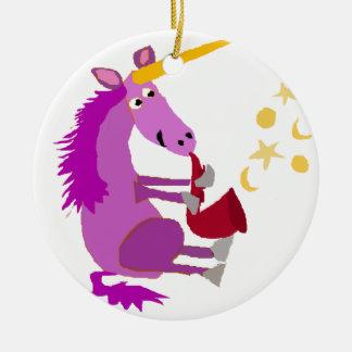 Funny Purple Unicorn Playing the Saxophone Round Ceramic Ornament