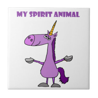 Funny Purple Unicorn Spirit Animal Tile