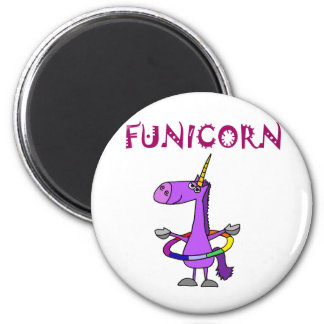 Funny Purple Unicorn with Hula Hoop 2 Inch Round Magnet