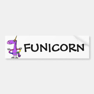 Funny Purple Unicorn with Hula Hoop Bumper Sticker