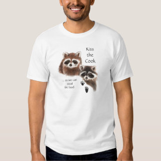 Funny Quote Kiss the Cook Cute Raccoons, Animal Tshirts