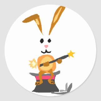 Funny Rabbit and Magician Round Sticker