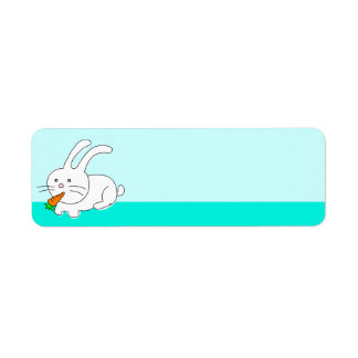 Funny Rabbit Eating Carrot Label