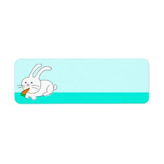 Funny Rabbit Eating Carrot Label Return Address Label