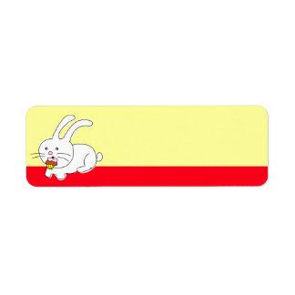 Funny Rabbit Eating Cupcake Label Return Address Label