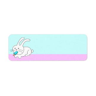 Funny Rabbit Eating Icecream Label