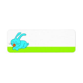 Funny Rabbit Eating Lollipop Label Return Address Label