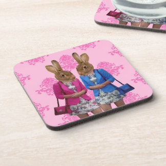 Funny rabbit girls going shopping drink coaster