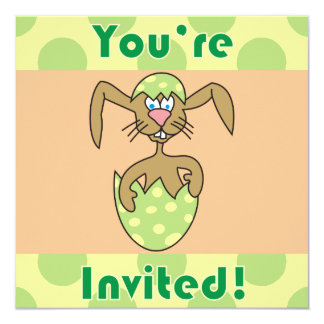 Funny Rabbit in Egg Easter Party Invitations