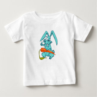 funny rabbit with carrot sweet cartoon, baby T-Shirt
