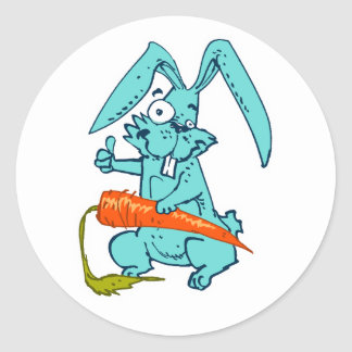 funny rabbit with carrot sweet cartoon classic round sticker