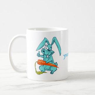 funny rabbit with carrot sweet cartoon coffee mug