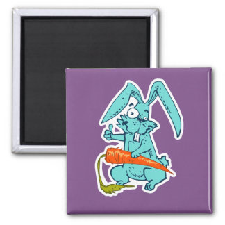funny rabbit with carrot sweet cartoon square magnet