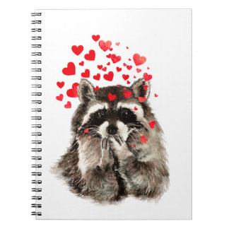 Funny Raccoon Blowing Kisses Love Hearts Notebook