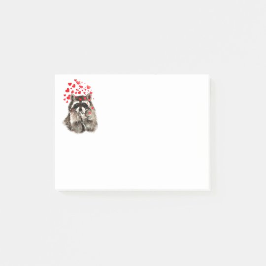 Funny Raccoon Blowing kisses & Love Hearts Post-it Notes