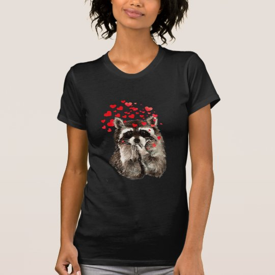 Funny Raccoon Blowing kisses & Love Hearts T-Shirt