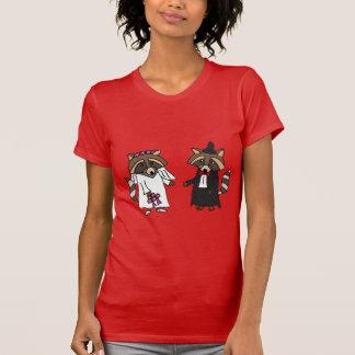 Funny Raccoon Bride and Groom Wedding Art T Shirts