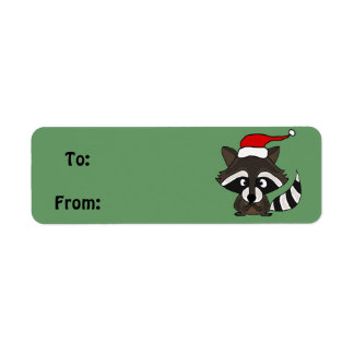Funny Raccoon Christmas Gift Tag or Address Label