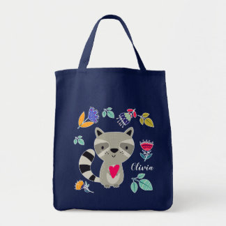 Funny Raccoon | Custom Name Gift Tote Bags