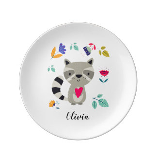 Funny Raccoon | Custom Name Porcelain Plates