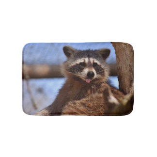 Funny Raccoon Sticking It's Tongue Out Bath Mat