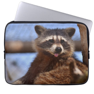 Funny Raccoon Sticking It's Tongue Out Laptop Sleeve