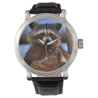 Funny Raccoon Sticking It's Tongue Out Wrist Watches