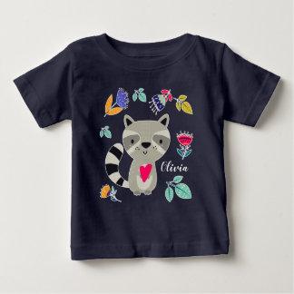 Funny Raccoon with Heart  Custom Baby T-Shirts