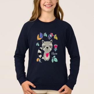 Funny Raccoon with Heart  Custom Kids' Sweatshirts