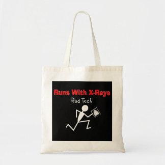 Funny Rad Tech Stickman Running Tote Bag