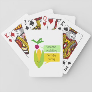 Funny Radish and Corn Vegetable Humor Poker Deck