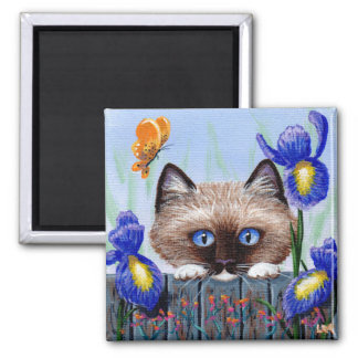 Funny Ragdoll Siamese Cat Butterfly Creationarts Magnet