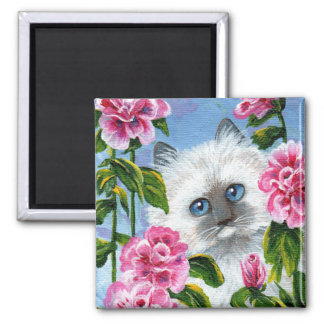 Funny Ragdoll Siamese Cat Roses Creationarts Magnet