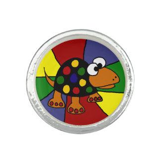 Funny Rainbow Turtle Photo Rings