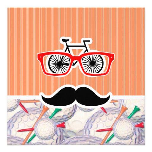 Funny Random Mustache, Golf Balls & Tees Invites