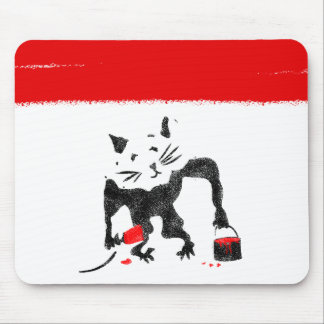 Funny Rat Playing With Red Paint Mouse Pad