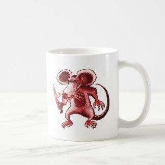 funny rat with knife cartoon style illustration coffee mug